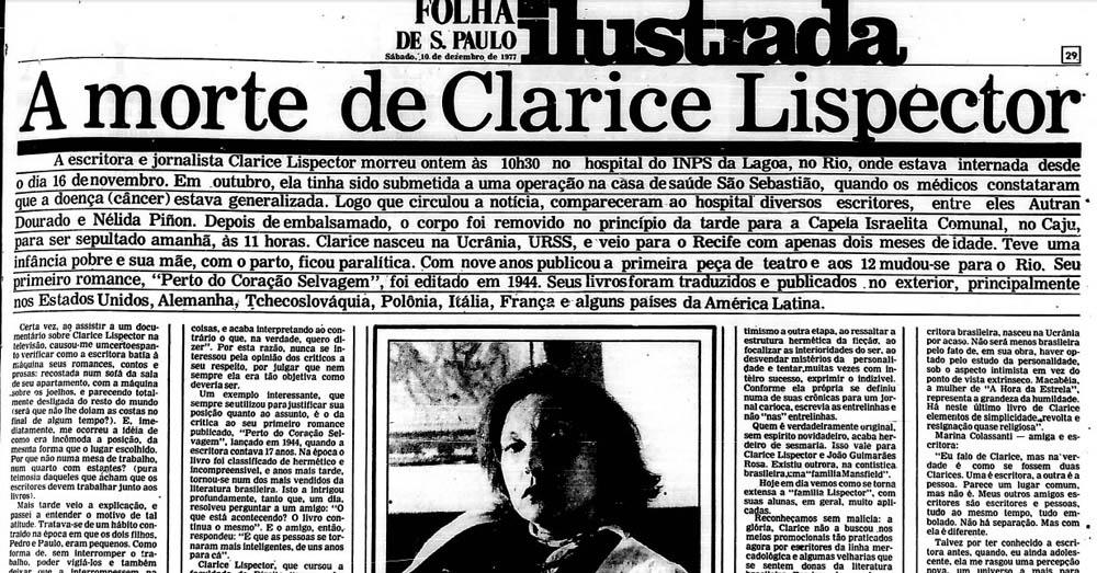 Jornal noticiando a morte de Clarice Lispector
