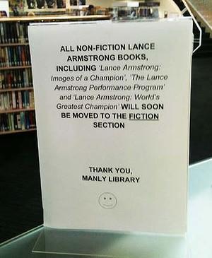"""Lance Armstrong muda para categoria """"Ficção"""" na Biblioteca de Sydney"""