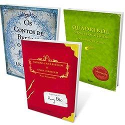 """Livros Biblioteca de Hogwarts: """"Animais Fantásticos e Onde Habitam"""", """"Os Contos de Beedle, O Bardo"""" e """"Quadribol Através dos Séculos"""""""